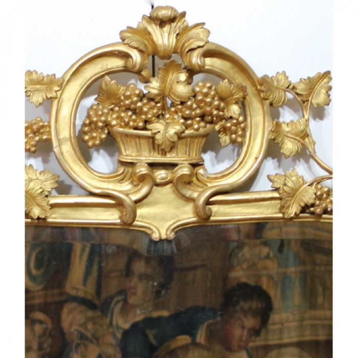 AN 18TH CENTURY LOUIS XV PERIOD, GILTWOOD MIRROR.CIRCA 1750