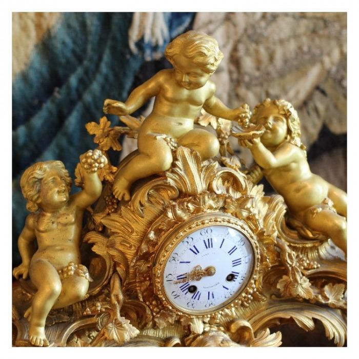 LOUIS XV ORMOLU, THREE-PIECE CLOCK GARNITURE BY JAPY FRERES