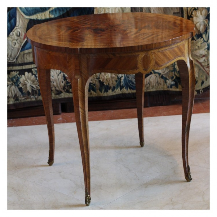 A FRENCH LOUIS XV KINGWOOD AND BOIS SATINEE MARQUETRY GUERIDON 19TH CENTURY CIRCA 1860