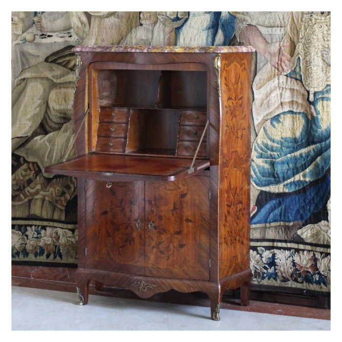A LOUIS XV ORMOLU-MOUNTED AMARANTH, TULIPWOOD AND KINGWOOD, MARQUETRY SECRETAIRE A ABATTANT