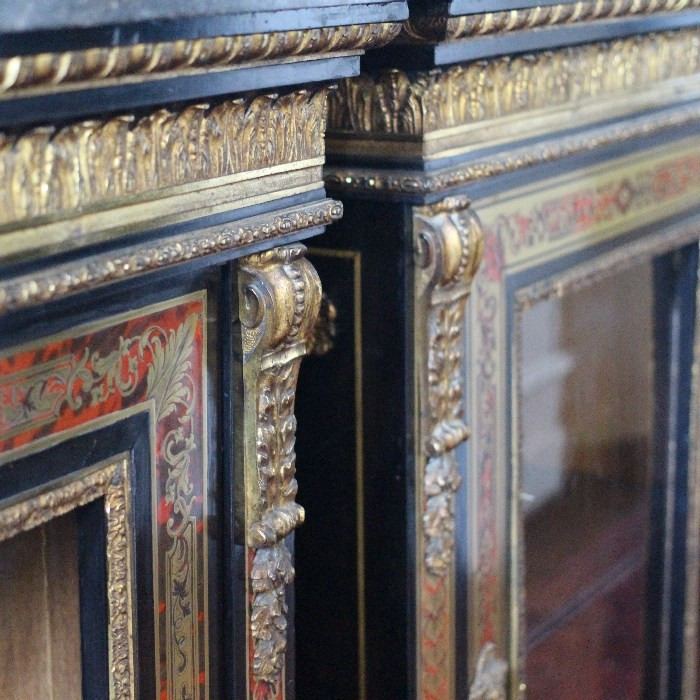 A PAIR OF NAPOLEON III ORMOLU-MOUNTED BOULLE MARQUETRY PIER CABINETS. CIRCA 1860